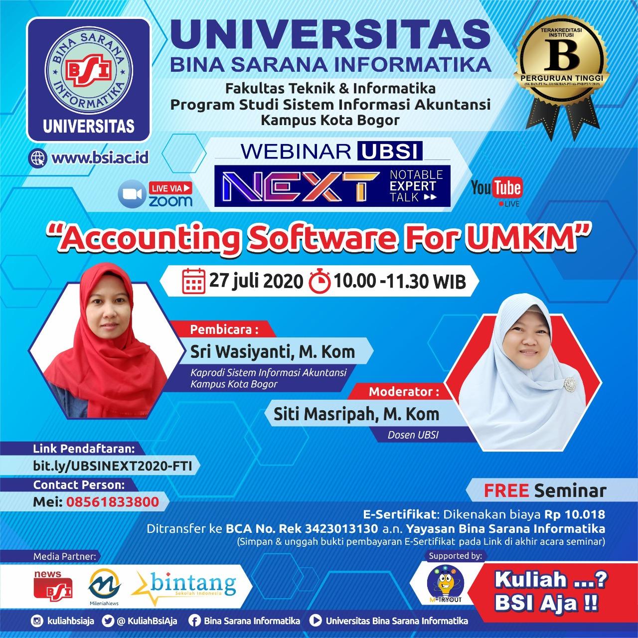 Program Studi Sistem Informasi Akuntansi UBSI Bogor Siap Menggelar Webinar Accounting 2