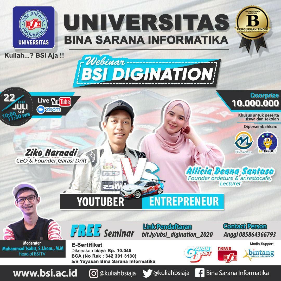Entrepreneur Muda VS Youtuber di Webinar UBSI 1