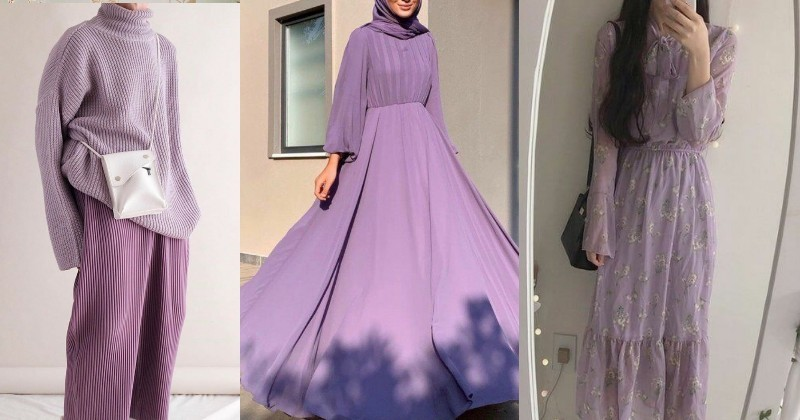 Inpirasi mix and match outfit berwarna lilac 2